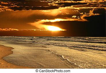 Sun Breaks Through Over Beach