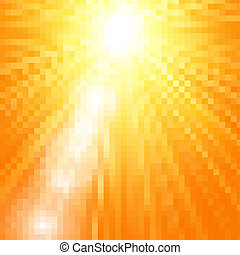 Sun burst with flare, vector summer yellow background