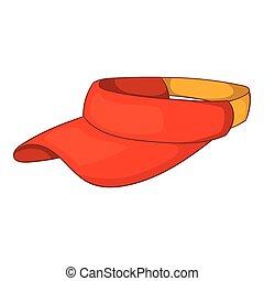 Sun cap icon, cartoon style - Sun cap icon in cartoon style...