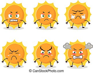 Sun cartoon character with various angry expressions