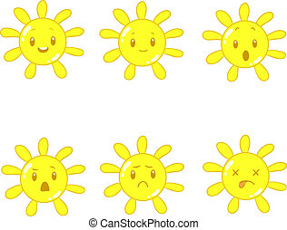 sun cartoon - sun with different emotions in vector on a...