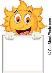 sun cartoon holding blank sign