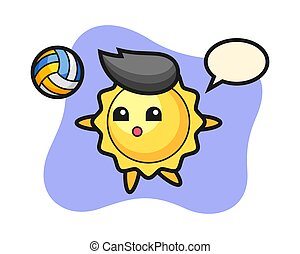 Sun cartoon is playing volleyball