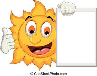 sun cartoon thumb up and blank sign