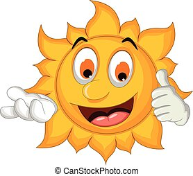 sun cartoon thumb up - vector illustration of sun cartoon...