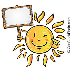 sun cartoon with signboard