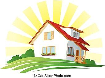 sun., casa, collina verde, sotto