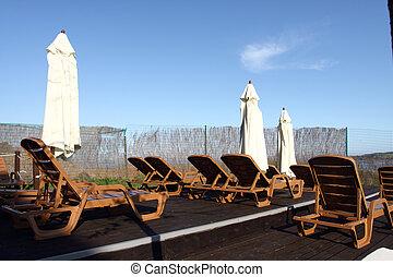 Sun chairs on the beach