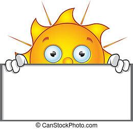 Sun Character - Holding Blank Board