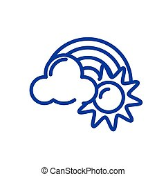 sun, cloud and rainbow, line style icon
