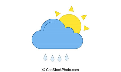 Sun, cloud and raindrops yellow and blue line art vector animation. Sunshine, cloudy and rainy weather forecast, meteorology simple contour icon video. Storm and precipitation overcast motion graphics