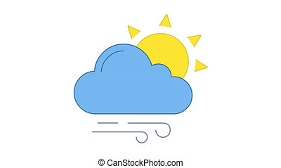 Sun, cloud and wind blowing in blue sky line art vector animation. Sunshine, cloudy and windy weather forecast, meteorology simple contour icon video. Sunny day overcast motion graphics