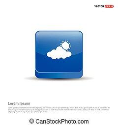sun Cloud Icon - 3d Blue Button
