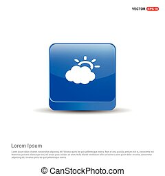 Sun Cloud Icon - 3d Blue Button