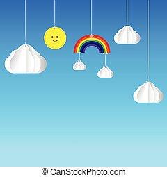 Sun cloud rainbow hanging on threads - sky background