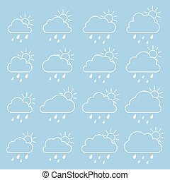 Sun, cloud with raindrops on a blue background
