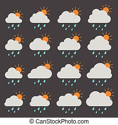 Sun, cloud with raindrops on a gray background