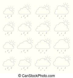 Sun, cloud with raindrops on a white background