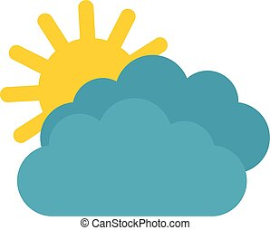 Sun clouds icon, flat style