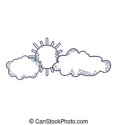 sun clouds sky weather cartoon isolated icon design line style