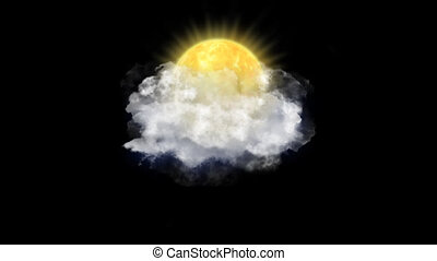 Sun Clouds, Weather Forecast Icon with Alpha Channel -...