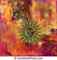 sun collage - collage mit sun symbol, artwork is created and...