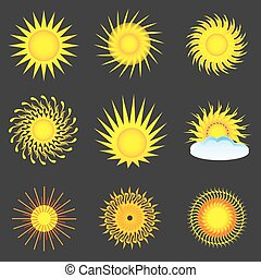 Sun colorful icon set