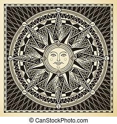 Sun Compass - Classic vintage sun compass rose.
