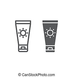 Sun Cream line and glyph icon, travel and tourism, sunscreen sign vector graphics, a linear pattern on a white background, eps 10.