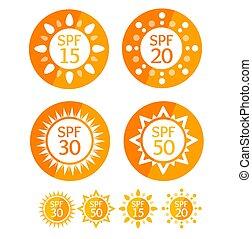 Sun Cream Round Orange Labels Spf Set. Vector - Sun Cream...