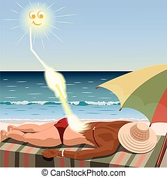 Sun creates tan for woman who lies on the beach