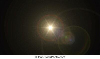 Sun cross lens flare center 4k - abstract image of lens...