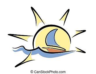 sun Dawn in sea with sailing vessel