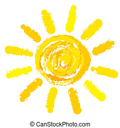Sun drawn - Drawing of sun. Vector illustration