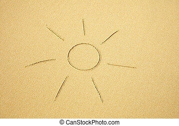 Sun drawn on sand of the beach