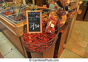 sun dried tomatoes at market in Provence, France