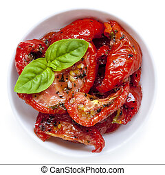 Sun Dried Tomatoes Isolated - Sun dried tomatoes garnished...