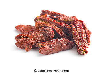 sun dried tomatoes on white background