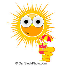 sun drink cocktail color vector illustration