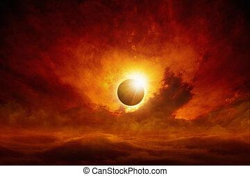 Sun eclipse - Dramatic apocalyptic background - sun eclipse,...
