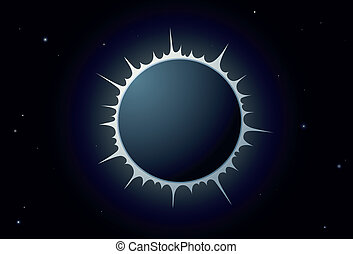 Sun eclipse - Illustration of full sun eclipse with crown