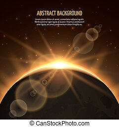 Sun eclipse vector abstract background