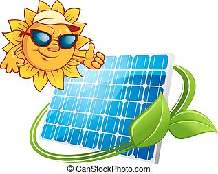 Sun energy concept with cartoon sun and solar panel