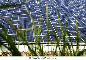 Sun Energy Farm - Modern solar photo voltaic panels with...