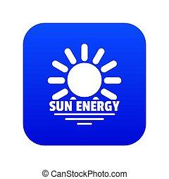 Sun energy icon blue