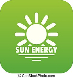 Sun energy icon green vector