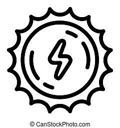 Sun energy icon, outline style