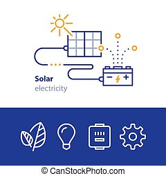 Sun energy, panels and accumulator, solar electricity icons
