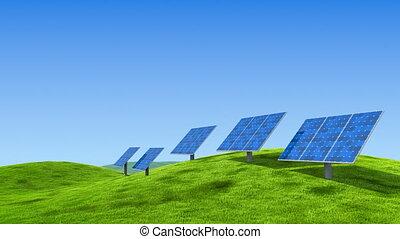Sun energy power station on the idyllic meadow