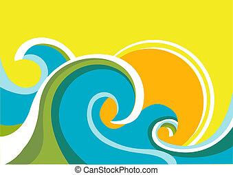 sun., färga fond, hav, vågor, vektor, marinmålning, affisch...